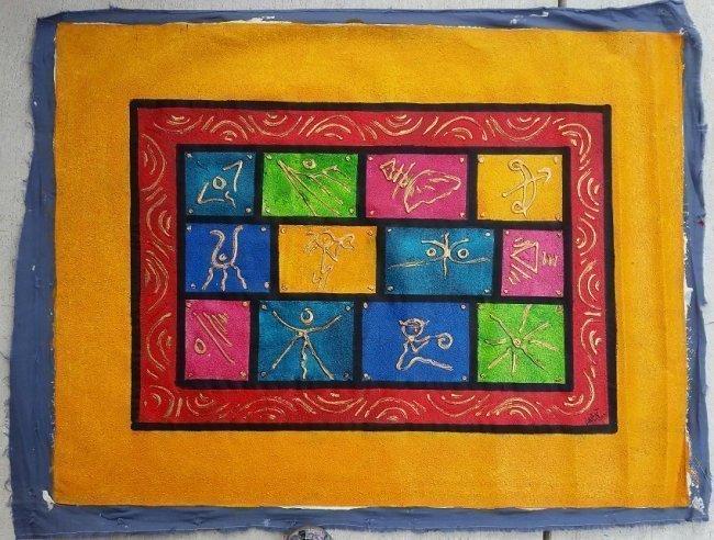 Haitian Art Larent Mixed Media on Canvas Taino Painting - 2
