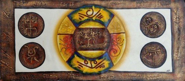 Haitian Art Larent Mixed Media on Canvas Taino Painting