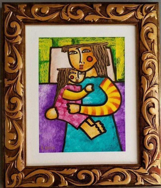 Latin American Art G.Sierra Naive Naif Drawing COA