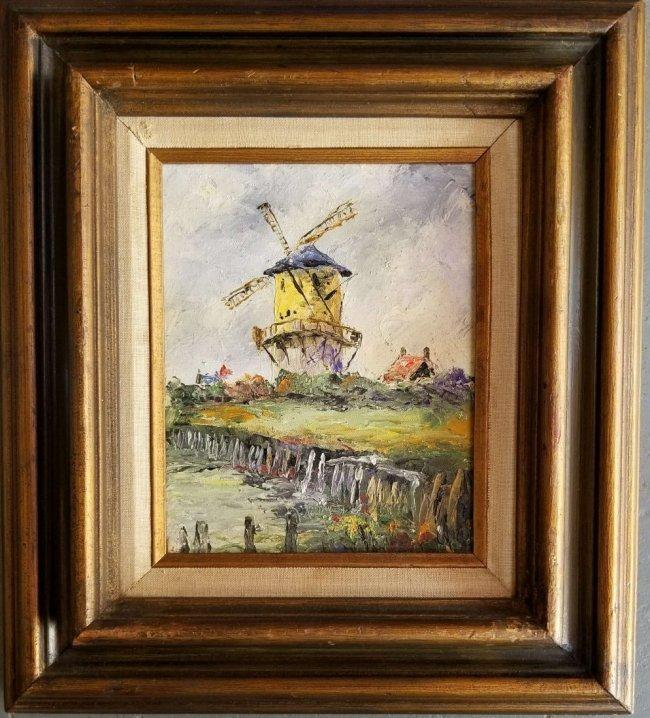 Antique Vintage Windmill Landscape Impressionism FRED