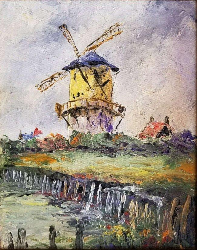 Antique Vintage Windmill Landscape Impressionism FRED - 2