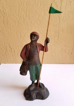 Antique Vintage Bronze Art Golf Golfer Sculpture
