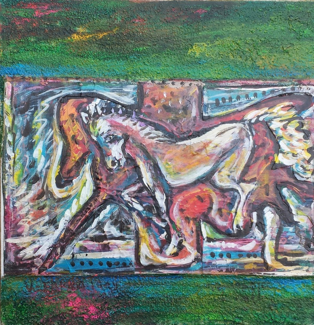 VICENTE FABRE ABSTRACT HORSES LATIN AMERICAN ART