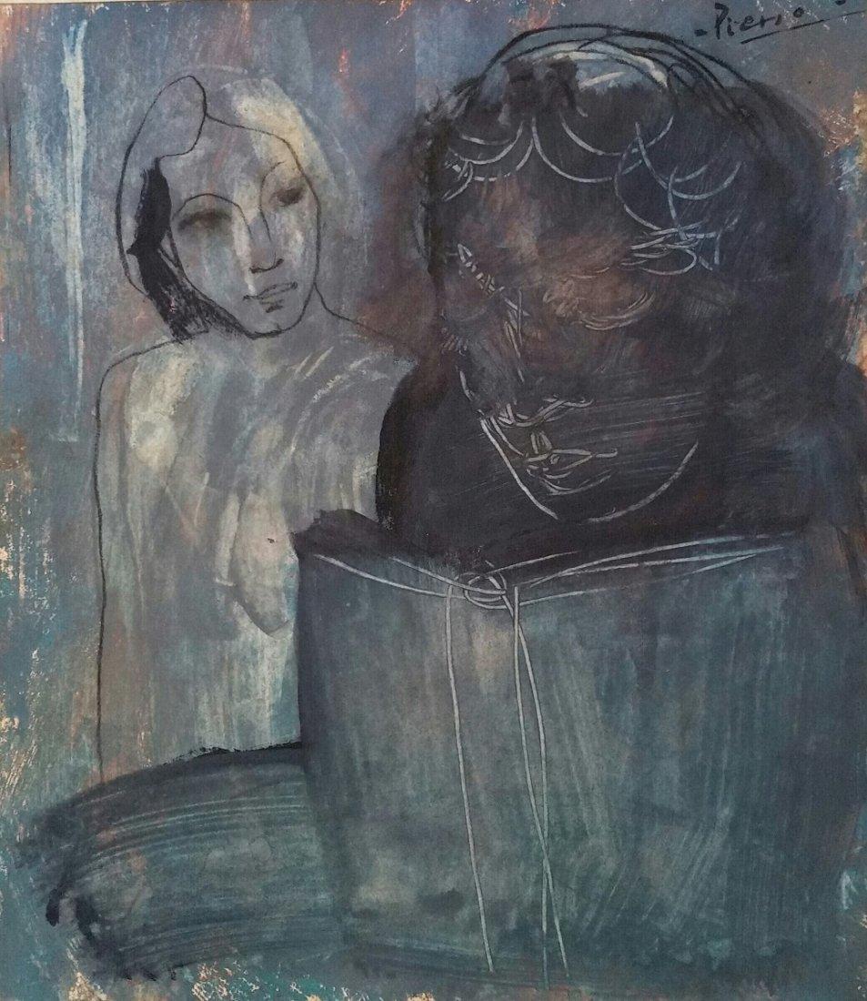 Pablo Picasso Blue Period (Attri ,Mixed Media )
