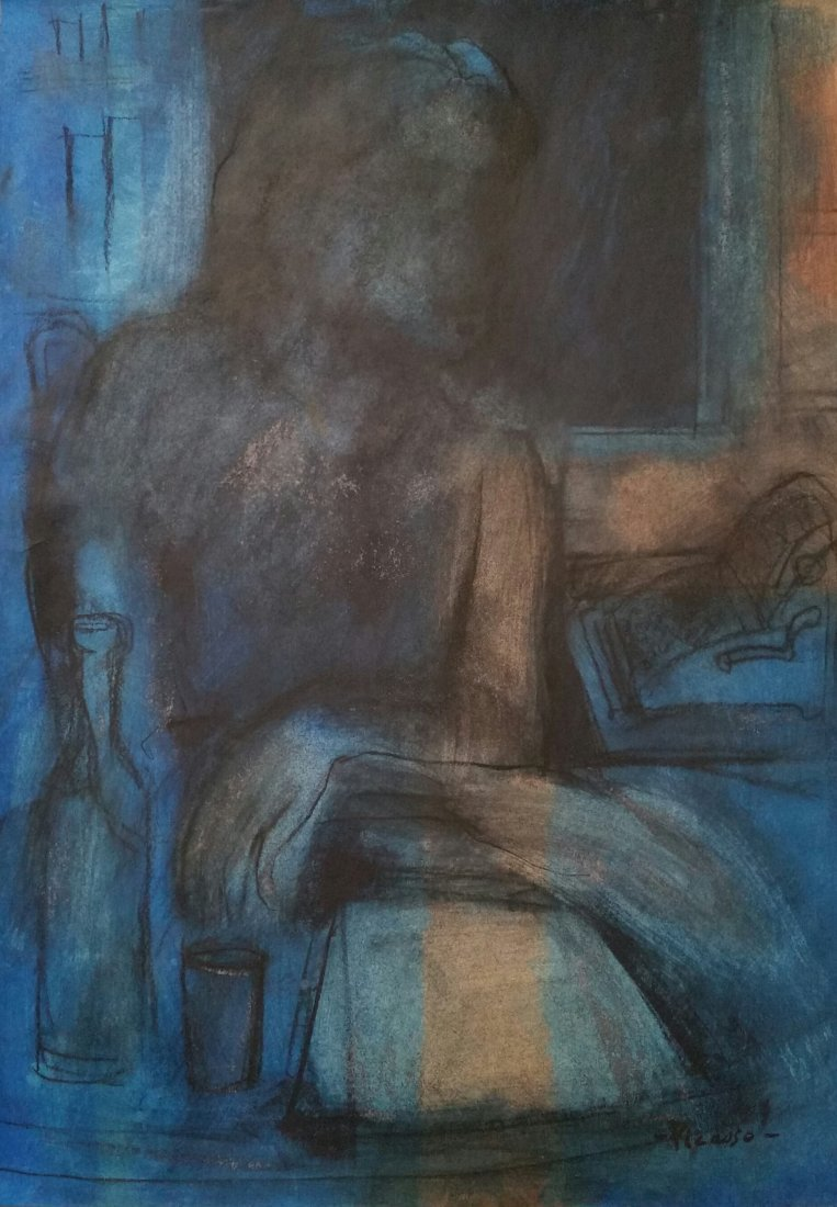 PABLO PICASSO BLUE PERIOD (MIXED MEDIA ATTRIBUTED)
