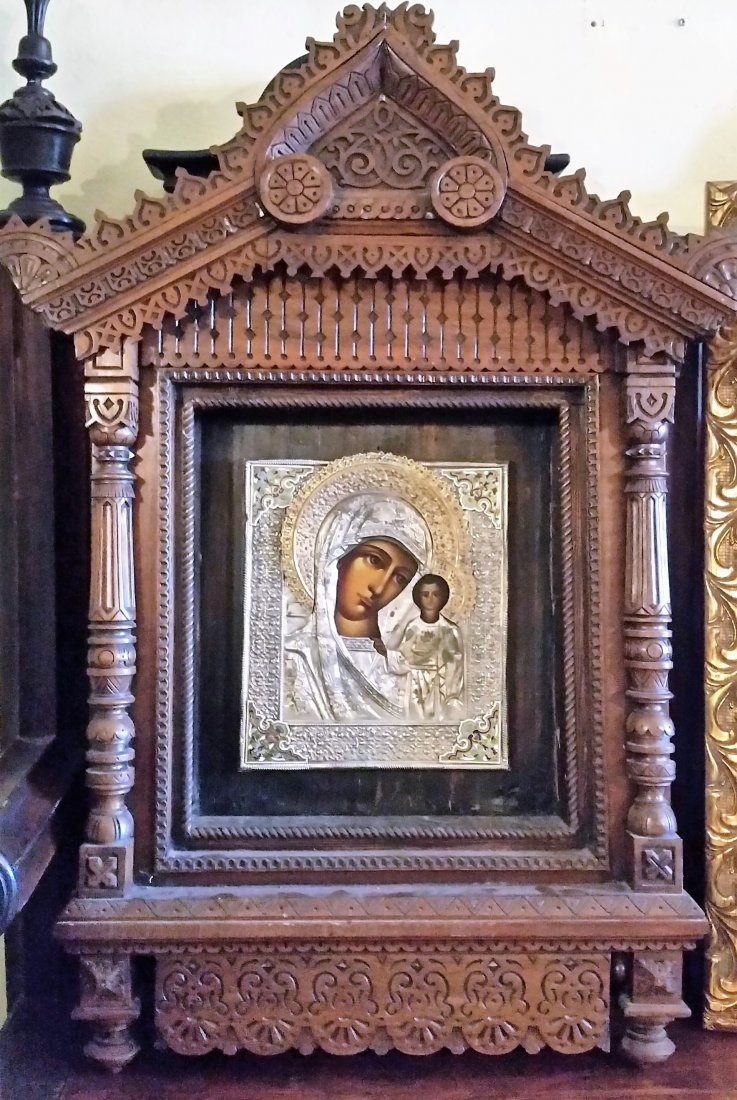 ANTIQUE LARARIUM RUSSIAN ICON MARY WOOD SACRED ALTAR