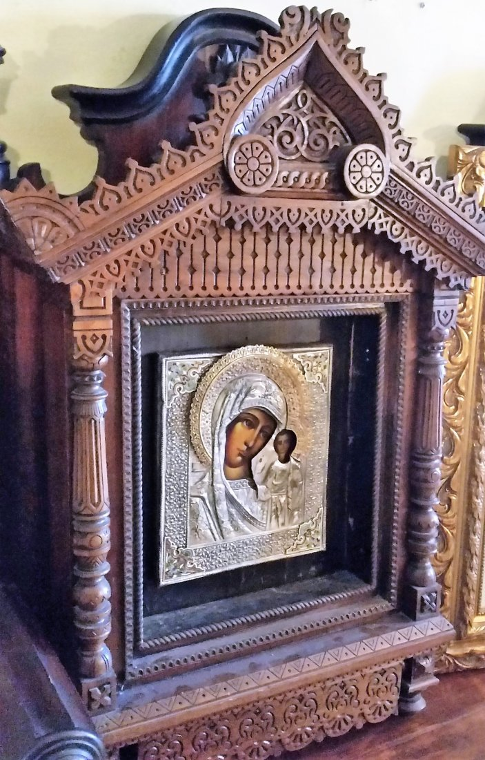 ANTIQUE LARARIUM RUSSIAN ICON MARY WOOD SACRED ALTAR - 2