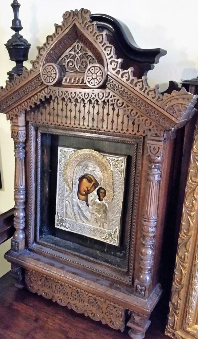 ANTIQUE LARARIUM RUSSIAN ICON MARY WOOD SACRED ALTAR - 3