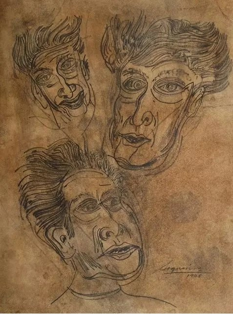 DAVID ALFARO SIQUEIROS DRAWING MEXICAN (1896-1974)