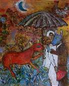 Marc Chagall Watercolor Drawing on Paper .(1887-1985)