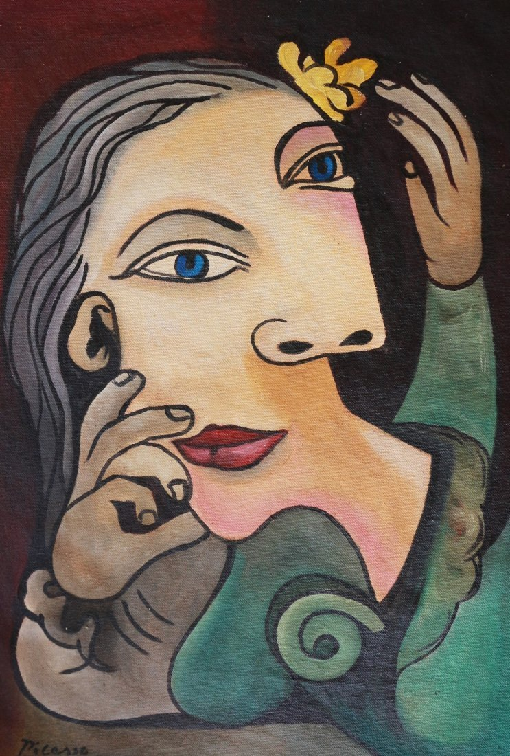 PABLO PICASSO FACES CUBISM CANVAS (Spanish 1881- 1973)