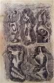 Henry Moore Drawing Sculpture Mixed Media (1898-1986)