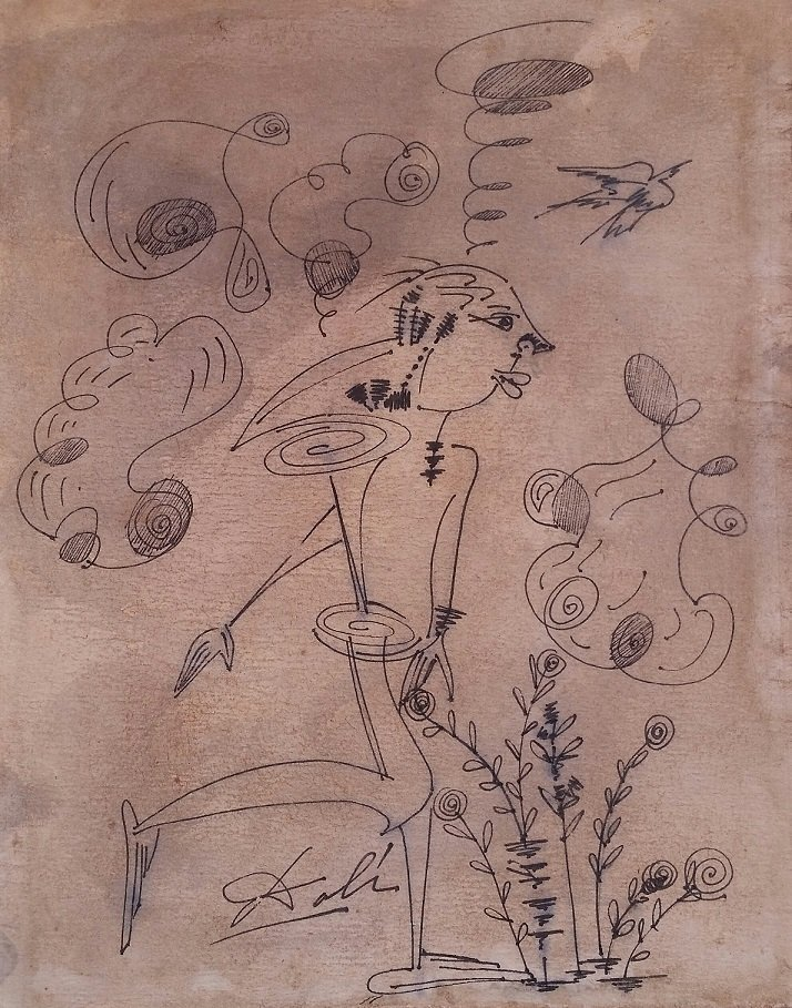 Salvador Dali Drawing Mixed Media Spanish 1904-1989