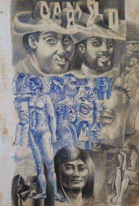DAVID ALFARO SIQUEIROS DRAWING MEXICAN (1896-1974)