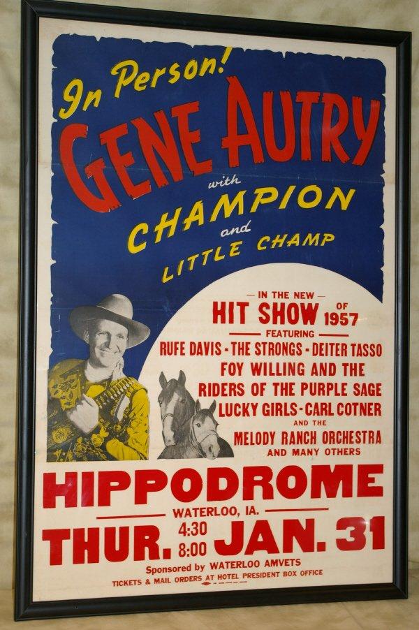 1: Gene Autry Wild West Show Concert Poster 1957