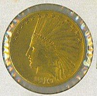 15: Indian Head $10 Gold Eagle Coin 1910 D