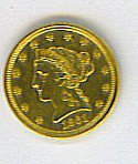 17: 1861 Liberty $2.50 Civil War Era Gold Coin