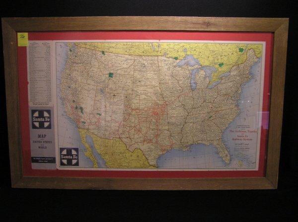 26: Vintage Santa Fe Railroad U.S. Map