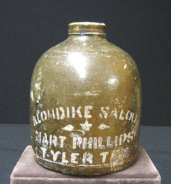 236: Texas Saloon Whiskey Jug Stoneware Tyler, Tx