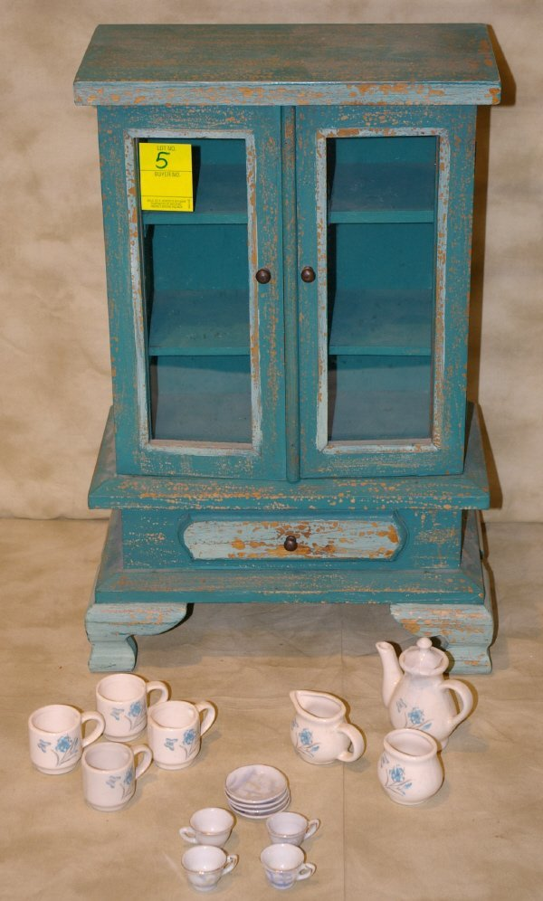 1005: Childs Miniature Painted China Cabinet And Dishes