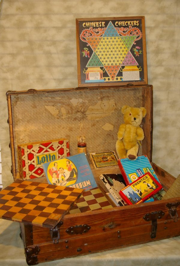 1006: Wooden Trunk With Vintage Toys & Games