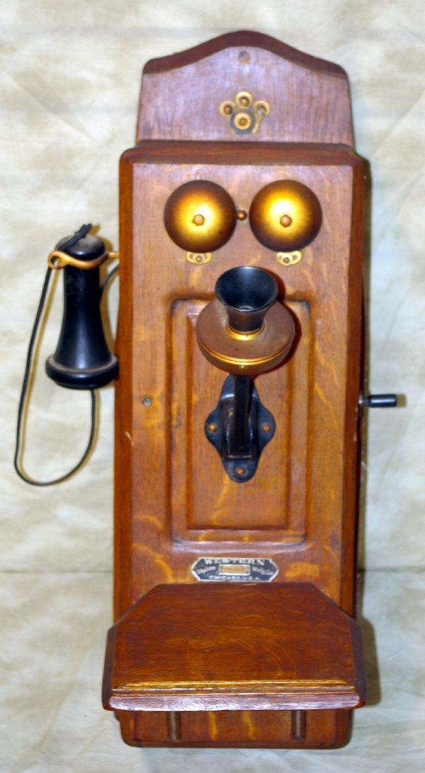 1010: Western Oak Wall Mount Telephone