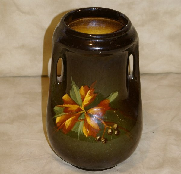 1018: Early McCoy Hand Painted  Double-handled Vase