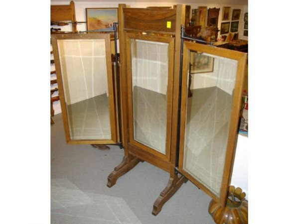 1069: Oak Victorian Haberdasher Tri-fold Mirror