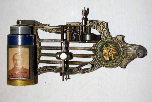 2139: Cast Iron Lion Puck Phonograph - 2