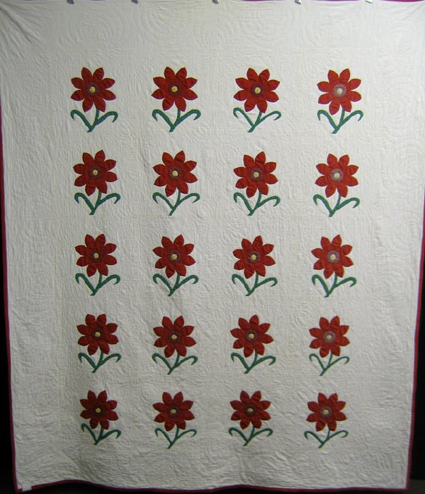 404: Quilt. Pair of red and white applique.
