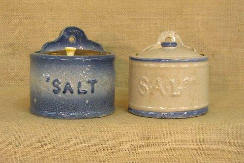 407: Stoneware. Salt crocks. 2 pcs.