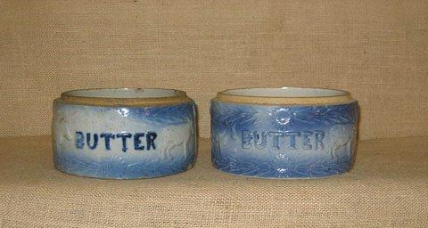 408: Stoneware.  blue salt glaze. 2 cow butter crocks