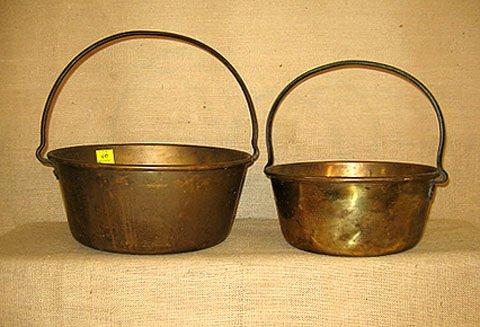 410: Brass Kettles. 2 pcs.  cookware. excellent cond