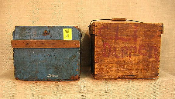 411: Lot Of Two Primitive Wood Boxes