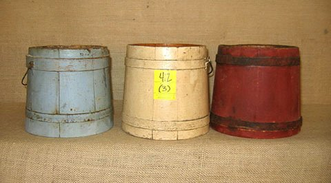 412: Firkins. Woodenware. 3 pcs. Red white and blue