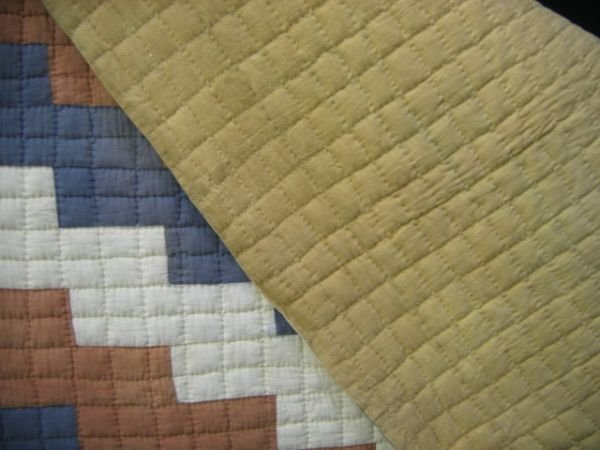 416: Quilt. Tobacco sacks. Red white and blue.