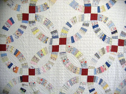 418: Quilt. Wedding ring. Red white and blue. 1930