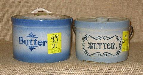419: Stoneware.  Salt glaze. 2 butter crocks. l