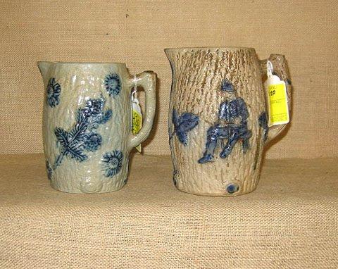 420: Stoneware. Pair stoneware blue decorated pitchers.