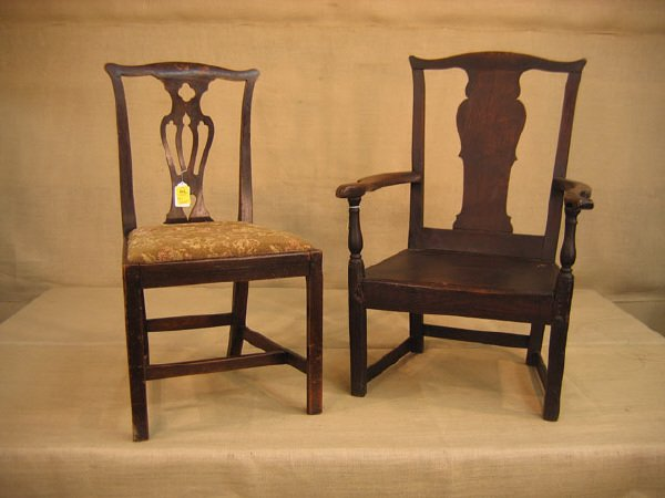 422: 2 Early English chairs. Both having early repairs.