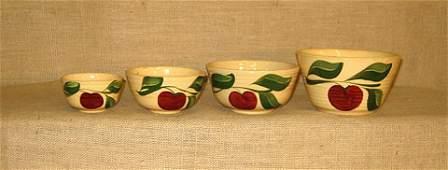 625 Wattware Apple pattern Nest of 4 mixing bowls