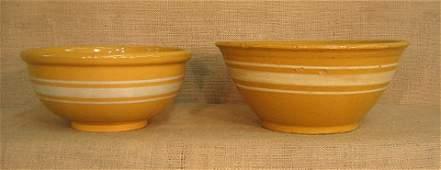 769 Yellow ware stoneware 2 banded bowls