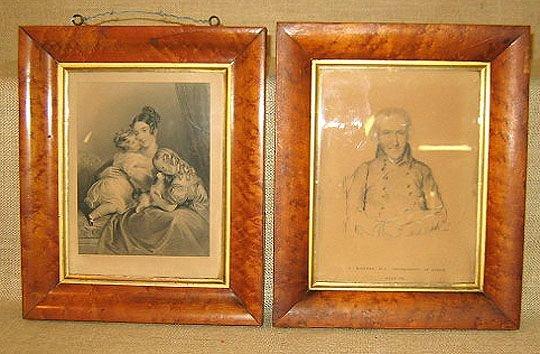 858A: Birds eye maple frames. 2 similar frames & prints