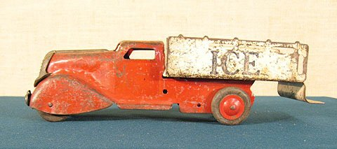 4: Pressed Tin Ice Truck . Circa 1930.