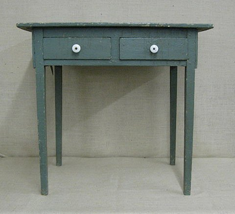 21: Two drawer stand. Old sage green paint.