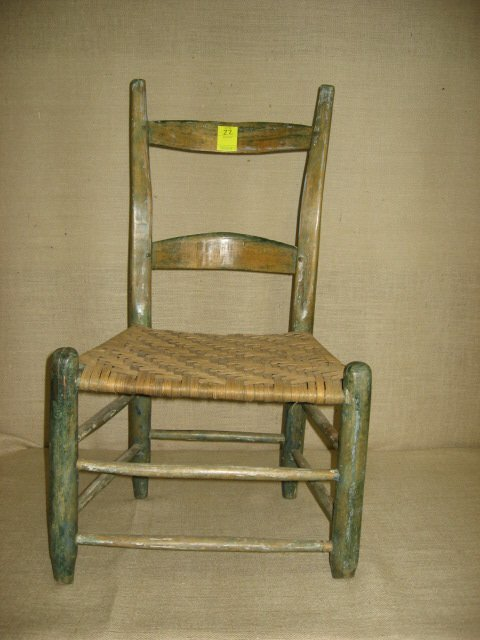 22: Early settlers chair. Nice splayed back.
