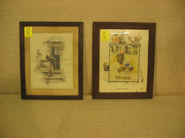 23: Pair Cream of Wheat Prints. Black Americana. 1923