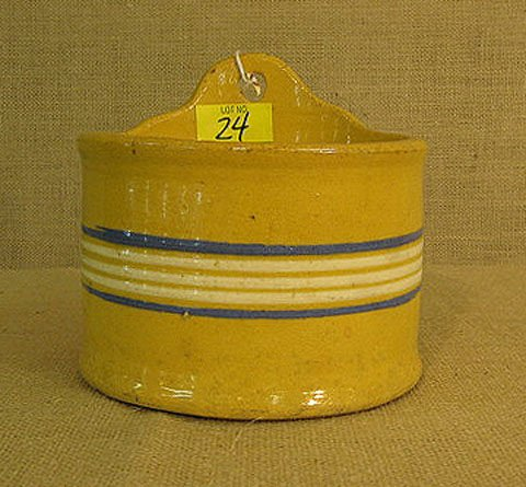 24: Stoneware. Banded yellow ware salt crock.