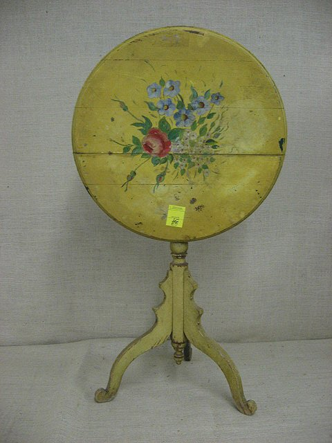 34: Tilt top table. Hand painted roses. Circa 1920.