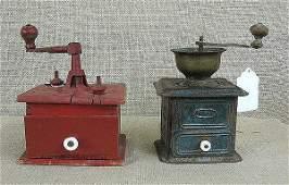 44 Coffee grinders One metal one wooden 2 pieces